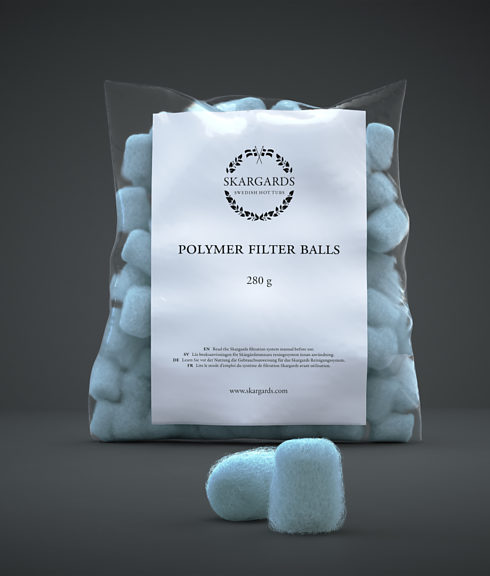 Close up of a bag filled with polymer filter balls