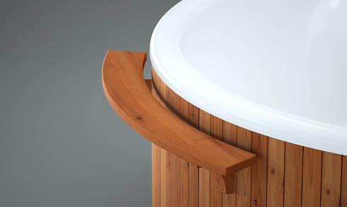 Close up of the sideboard mounted on the hot tub